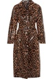 Miu Miu Miu Miu - Belted Leopard-print Glossed-pu Cotton Trench Coat - Brown White, Brown