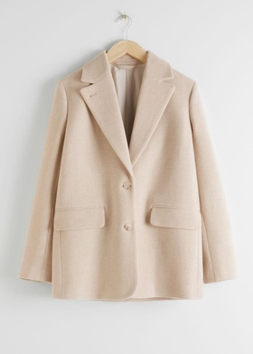 & Other Stories Wool Blend Oversized Blazer - Beige Beige