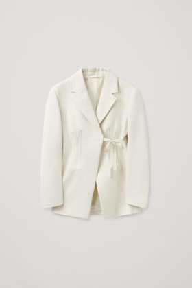 COS FITTED TIE-UP BLAZER White