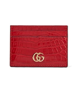 Gucci Gucci - Marmont Petite Alligator Cardholder - Red White, Red