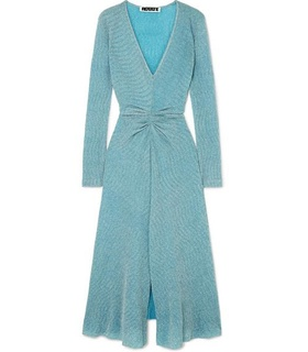ROTATE ROTATE - Gathered Metallic Stretch-knit Midi Dress - Sky blue White, Blue
